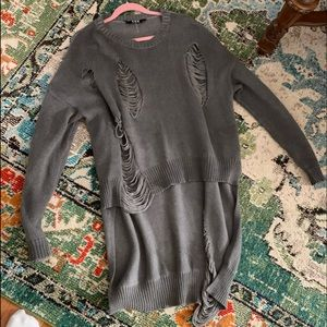 TOV high low distressed sweater
